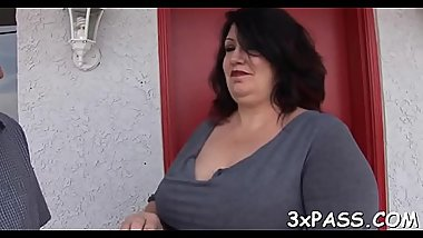 Chubby bitch gets her clean shaved vagina nailed on camera