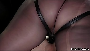Milf in tights anal fucks male slave