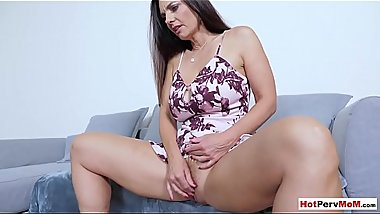 MILF stepmom masturbates next to cleaning stepdaughter