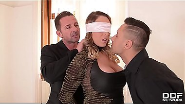 Blindfolded fetish Milf Victoria Summers fucked by two dominant studs