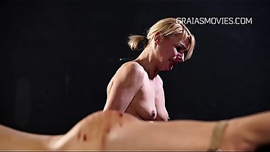 MILF domina wannabe get clamps on her pussy lips
