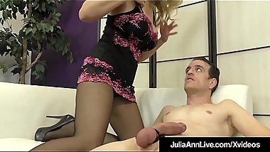Femdom Milf Julia Ann Teases A Slave Cock With Stockings!