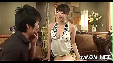 Sexy asian mom in heels gets in nature'_s garb and fucked on couch
