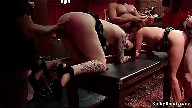 Blonde Milf anal toyed in bdsm orgy party