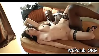 Black babe feels chunky rod of ebony thug in mouth and twat