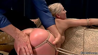 Husband hogtied and spanked wife