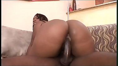 Big butt black honey Skyy Black sucks and fucks a fit black stud on sofa