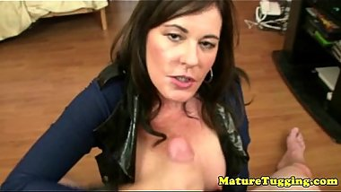 Tugging loving MILF mama jerking