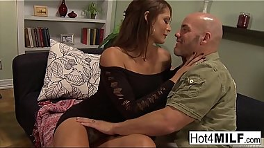 Brunette MILF with big tits sucks and fucks like a champ