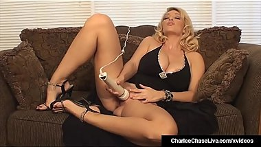 Blonde Milf Charlee Chase Vibrates Her Horny Twat With Wand!