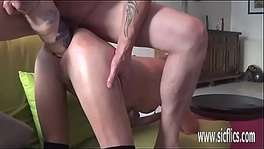 Double fisting and giant dildo fucked amateur