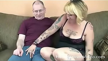 Trashy blonde sucks first cock on camera