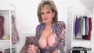 Cheating british milf lady sonia pops out her giant boobies