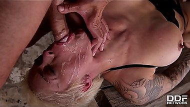 Blonde Slut Mila Milan DP &amp_ Rough sex Domination