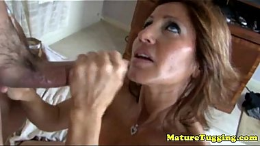 Tugging loving mature jacking off