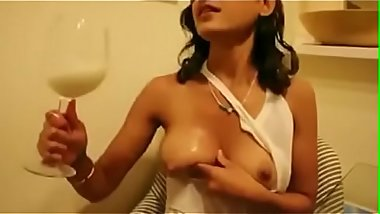 Hot milf drink own tits