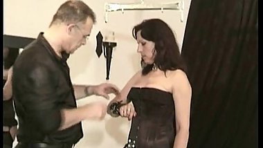 Horny brunette milf with nice tits licks balls and sucks cock of guy and swallows his cum