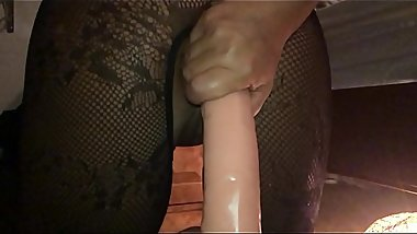 My Sexy Girlfriend a British Milf - POV Filming Closeup in Slow Motion on My iPhone - Ramming a Huge Dildo Hard and Fast in Her Dirty Ass Hole - II