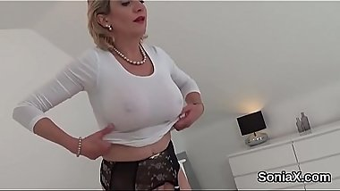 Adulterous british mature lady sonia exposes her huge boobs