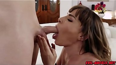 Hot sperm splatters Dana DeArmonds tummy as her stepson blast a huge of load after a hot milf and young guiy fucking