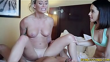 Isabella Deltore moans as stepson fucks her hard together with his friend Aria Lee!