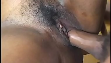 Thick assed black whore sucks and fucks a black stud then gets tits jizzed on