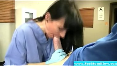 Hungry mature brunette nurse milf sucking