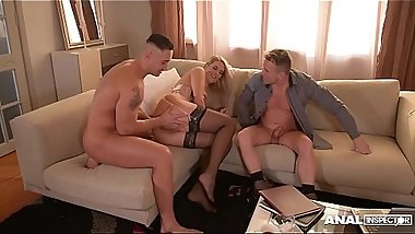 Anal inspectors get to see Nikky Dream'_s backdoor fucked by two studs