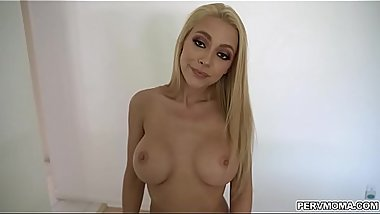 Honey Blossom sucking her stepsons cock until he cums over her tongue