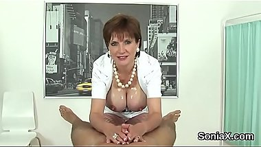 Unfaithful english milf lady sonia flashes her heavy jugs