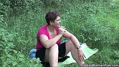 The great outdoors wets grandma'_s appetite for cock and cum