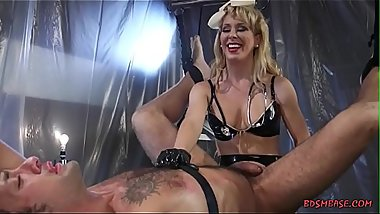 Beautiful blonde mistress pegging her slave