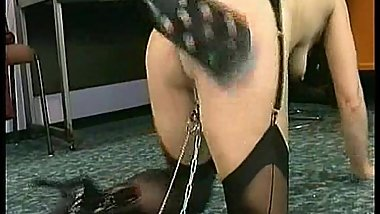 Milf slave asks master wearing leather for forgiveness but he is pulling on her pussy lips