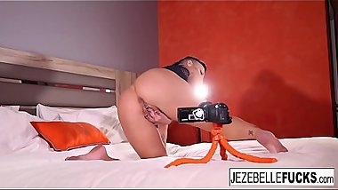 Handheld up close look into Jezebelle'_s tight pussy
