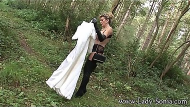 Lady Sonia Fur Coat And Thigh Boots In The Woods