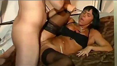Horny MILF with piercing on her clit